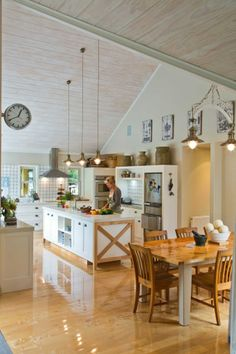 """In Steve and Michelle Lassche's Sheffield, Canterbury home, the kitchen and dining area by the entrance is the first thing guests see."""""""