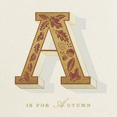 Amber leaves, apple-picking, acorn squash Paperless Post invite, hand-lettering by Dan
