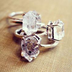 erica weiner herkimer diamond ring stack...
