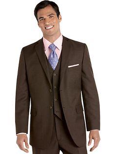 Mens - Tommy Hilfiger Taupe Sharkskin Vested Suit - Men's ...