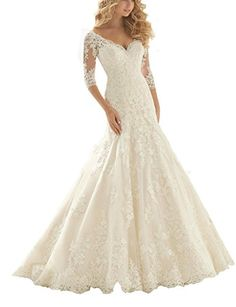 Winnie Bride Elegant Mermaid Wedding Gowns Ivory Lace Bridal Dress with    Continue to the product at the image link. 2f449f318e2b
