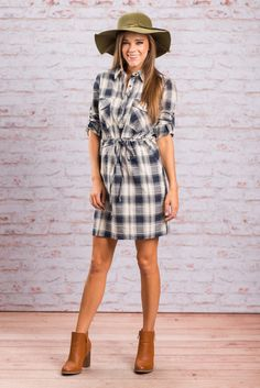 """""""Longing For Fall Dress, Navy-White"""" It's cotton, it's plaid, it's perfection! This dress is such a must have! The sleeves can be long or rolled up and tabbed and the waist line can be adjusted too with the drawstring!  #newarrivals #shopthemint"""