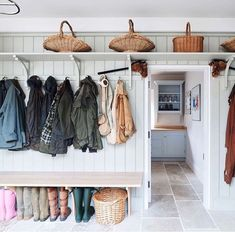 This beautiful Boot Room area was designed and installed by Cheverell, along with many other rooms in this gorgeous renovation in conjunction with . Photo by : Adam Carter . Adam Carter, New England Farmhouse, Cosy Kitchen, Garage Renovation, Refurbishment, Panelling, Mudroom, Home Projects, Entryway