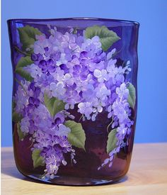 Love the Lilacs- and almost impossible to paint with watercolor so might as well put them on glass.