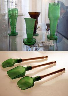 Reciclaje de botellas: increibles tenedores de servir y copas