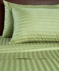 Loving this Green Tea Damask Stripe 500-Thread Count Sheet Set on #zulily! #zulilyfinds