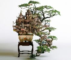 Miniature bonsai tree castles by Takanori Aiba are the world's smallest treehouses!