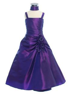 Purple A-Line Lovely Taffeta Long Flower Girl Dress (Sizes 2-20 in 7 Colors) - @ Pretty Flower Girl