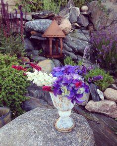 Skapar Blomsterarrangemang i trädgården.