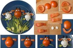 Too cute!  Fun with food and sharp knives!  Take a couple of tomatoes, hard-boiled eggs, black olives, dill and other herbs, and viola!