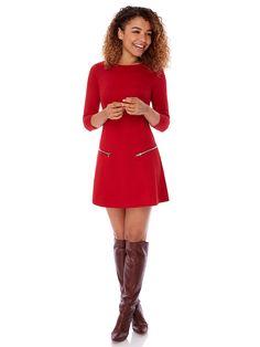 Dámské šaty s 3 4 rukávem YUMI - červená 38d66779eef
