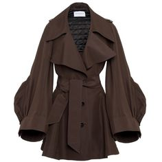 Short Trench Coat VIKTOR AND ROLF (138.625 RUB) found on Polyvore featuring outerwear, coats, jackets, tops, coats & jackets, short trench coat, brown coat, short coat, brown trench coat and trench coat