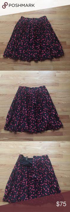 J. Crew cherry Midi skirt Brand new with tags pleated Midi skirt with cherry print. J. Crew Skirts Midi
