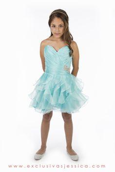 Vestidos de graduacion de primaria cortos azul turquesa