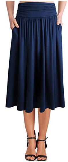 womens-rayon-spandex-high-waist-shirring-flared-skirt-with-pockets
