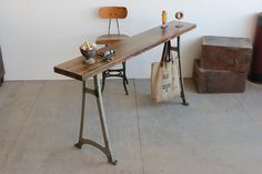 Custom Vintage Industrial 6' Console Table/ Bar w/ Walnut Finished Butcher Block
