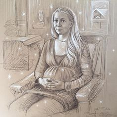 First drawing of 2016 on New Year's Day of one of my dearest oldest friends Karen Glas who is pregnant with her second child always a deep honor to record such powerful moments in time... ✨ #portrait #drawing #bestfriends