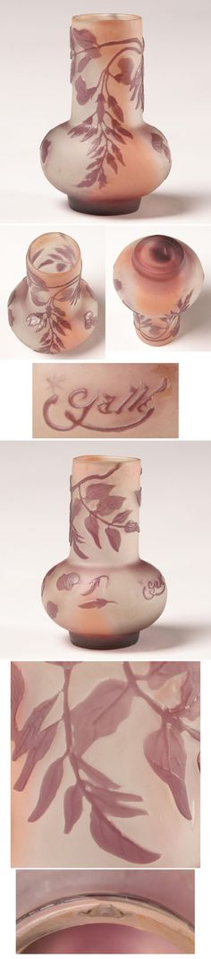 Galle French Cameo Glass Vase Amethyst Florals