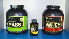 Capetele de afis Optimum Nutrition. Serious Mass, Gold Whey si Opti-Men Protein Sources, Superfoods, Nutrition, Gold, Super Foods, Sources Of Protein, Yellow