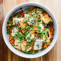 Seafood paella served at a wedding tasting - wedding entree inspiration Wedding Entrees, Sour Plum, Lunch Delivery, Greens Restaurant, Seafood Paella, Daily Specials, Breakfast Burritos, Menu Items, Urban Farming
