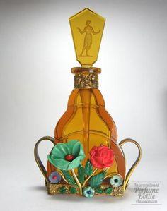 Amber perfue bottle with flower basket jeweling ~ Franz Josef Vater, c.1931