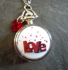 LOVE Pocketwatch small with Floating Tiny Red by PrairieStarJewels