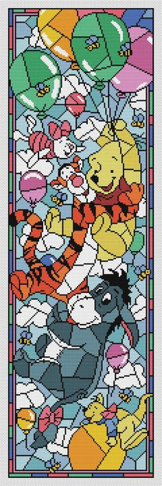 Disney cross stitch pattern Winnie the Pooh. Stained glass collection. Cross stitch pattern in PDF. NOT A PHYSICAL PRODUCT! __________________________________________________________________________________ BUY 2 PATTERNS AND GET 1 FREE! How: Buy 2 patterns and send me link of 3 in your