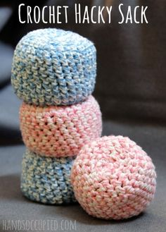 "We're sharing a fabulous amigurumi type-pattern for an Easy Crochet Hacky Sack. You'll want to make one and try your ""foot"" at the game of Hacky Sack! Crochet Ball, Love Crochet, Crochet For Kids, Crochet Toys, Single Crochet, Easy Crochet Animals, Crochet Craft Fair, Crochet Projects To Sell, Hat Crochet"
