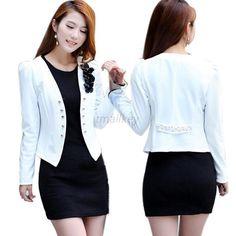 Moda Mujer Damas Tops Slim Suit ol Blazer Flor corto Abrigo Chaqueta Xxl T31