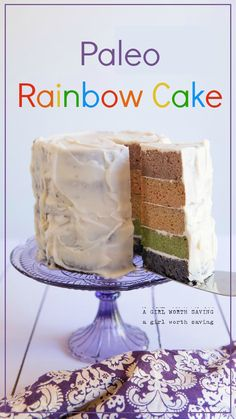 Paleo Rainbow Cake made with natural ingredients like strawberries, blueberries and more to get the vibrant joyful colors.