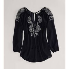 AE Embroidered Boho Top found on Polyvore featuring polyvore, fashion, clothing, tops, black, embroidery tops, boho tops, v neck tops, black boho top and 3/4 length sleeve tops