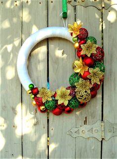 Christmas Wreath, Christmas Wreath for Front Door, Ornament Wreath, White Wreath, Christmas Decor, Christmas Ornament Wreath, Poinsettias
