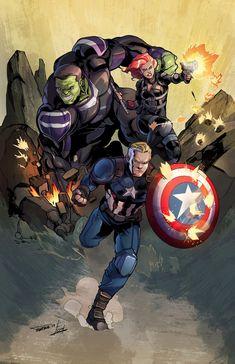 Avengers End Game Print, Esau Figueroa Marvel Avengers Games, Marvel Comics, The Avengers, Marvel Heroes, Captain Marvel, Marvel Universe, Arte Nerd, Mundo Marvel, Asgard