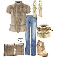 Ralph Lauren ruffle top, BKE stella stretch jeans, Diane Von Furstenberg shoes, Milly clutch