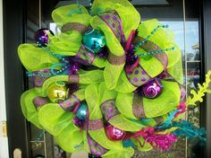 Lime Green Colorful Christmas Wreath