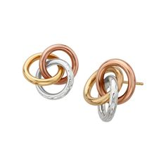 Triple Ring Earrings in 14K Two-Tone Gold and Sterling Silver