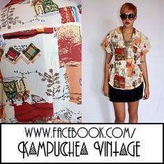 Vintage Abstract Print Womens Shirt Blouse sz12 - 1980s Retro Kitsch FREE P  £24.00    Description:   Super wowsers of a print on this blouse. We can see leafs, cartwheels, tee pees and a plethora of other interesting things sketched into this design. Made with a lovely cut of capped sleeves, button up collar and elastic waist. Just perfect to wear with your cut off denim shorts this summer festival season.