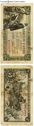 España - 5 ptes. : Banco de España, cinco pesetas de curso legal, Madrid 15 de junio de 1945 :: Paper moneda del Pavelló de la República (Universitat de Barcelona)