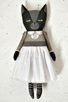 Anthropomorphic Black Cat Hand Painted Rag by cartbeforethehorse, $80.00