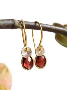 Garnet 24k gold vermeil, sterling silver earrings. January birthstone earrings. Garnet Jewelry, Garnet Earrings, Garnet Gemstone, Silver Drop Earrings, Gemstone Earrings, Sterling Silver Earrings, Beautiful Gifts For Her, Selling Jewelry, Carat Gold