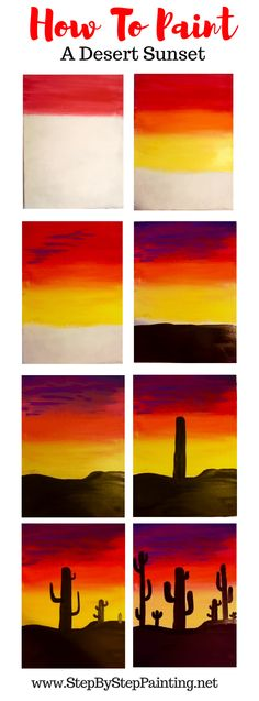 How To Paint A Cactus Silhouette Sunset - Step by Step Acrylic Painting Tutorial