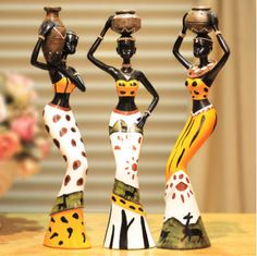 exotic tribal african woman resin figurines 6*5*20cm people ornaments home decoration accessories