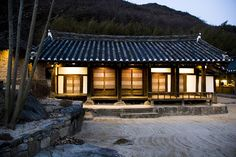 The outside of a traditional Korean Hanok Guest House