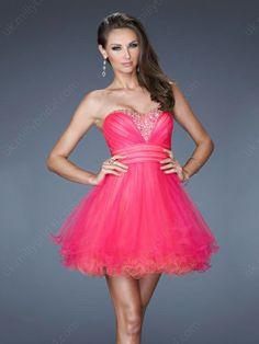 A-line Sweetheart Tulle Short/Mini Rhinestone Homecoming Dresses
