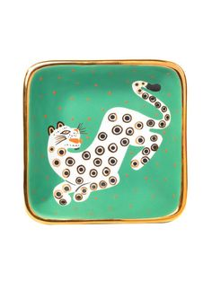 Waylande Gregory Green Leopard Square Tray