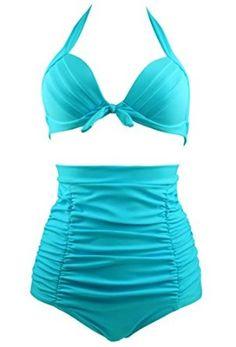 Cocoship Solid Black Elegant Vintage High Waisted Bikini Swimsuits Swimwear(FBA) at Amazon Women's Clothing store: