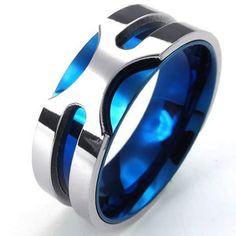 KONOV Bijoux Bague Homme – 8mm Classique – Acier Inoxydable – Anneaux – Fantaisie – pour Homme – Couleur Bleu Argent – Avec Sac Cadeau – F22666 – Taille 60