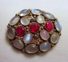 Rubies and Moonstones Brooch