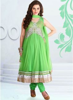 Enticing lime green #anarkali with resham thread work