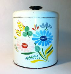 Vintage Ransburg Tole Hand Painted Tin Canister by Sfuso on Etsy